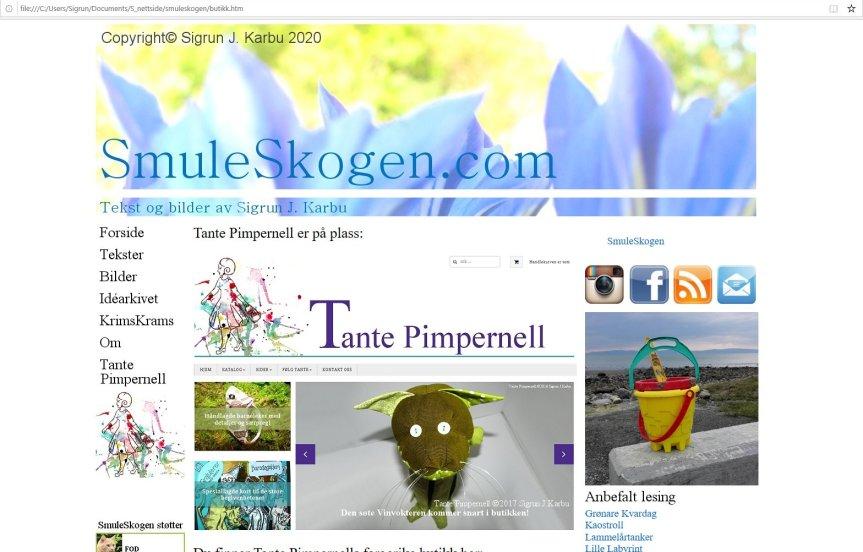Min gamle nettsideSmuleSkogen.com